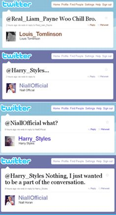 "part 2 :) Niall: ""nothing I just wanted to be part of the conversation."" haha lol oh Niall!!"