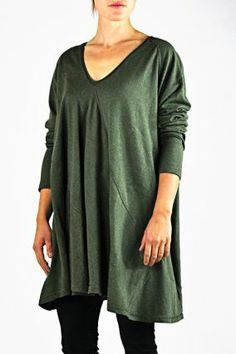 Rundholz Black Label V-Neck Oversized Sweater in Moss