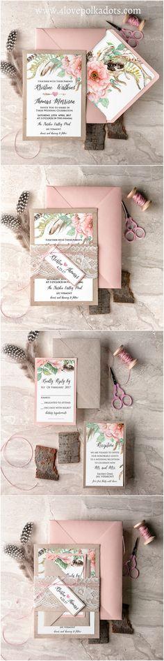 Wedding invitation #4lovepolkadots #blush #bohemianwedding #weddinginvitations #boho #bohoinvitations #pastels #gardenwedding #weddingstationery