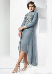 Party Wear Grey Georgette Embroidered Work Kurti