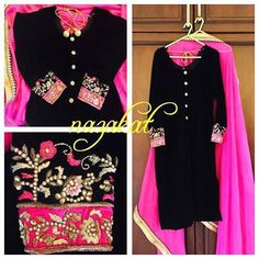Done for a client in Canada  Time to share our best seller, just with a little twist this time! So the velvet, long side slit kurta with pajami. This time we did it in the combination of black with hot pink. We changed the embroidary this time because the client wanted something lighter and more delicate.  She picked up the embroidery from a dupatta we had done long back ❤️ Paired up with a hotpink dupatta finished with borders and dont miss the embroided buttona on the shirt  Isnt this p...