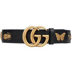 GUCCI Leather belt with animal studs - black leather. Gucci Leather Belt, Real Leather Belt, Leather Buckle, Leather Belts, Studded Belt, Studded Leather, Black Leather, Vintage Leather, Luxury Belts