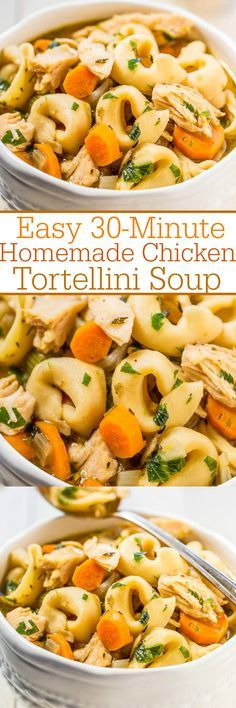 Easy 30-Minute Homemade Chicken Tortellini Soup - An fun spin on classic chicken noodle soup using cheese tortellini!! Fast, easy, comfort food that just hits the spot! You'll make it over and over again!!