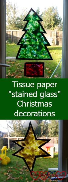 """A tissue paper Christmas tree and star - Tissue paper """"stained glass"""" Christmas decorations"""