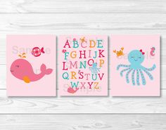Pink Under the Sea Nursery Wall Art PRINTABLE Instant Download