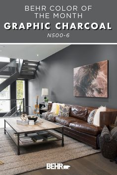For a bold twist on a classic neutral wall color, turn to the Behr paint Color of the Month: Graphic Charcoal. A dark and moody shade of gray, this hue completes the modern style of this living room. Ready to integrate Graphic Charcoal into your next DIY home painting project? Click below for more color inspiration.