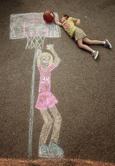 Creative Photos Of Kids As Part Of Chalk Art