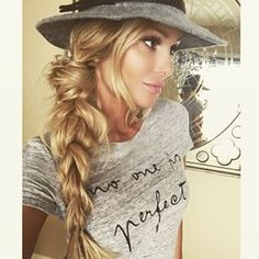 messy braid + hat.