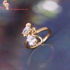 [Visit to Buy] full $15 free door-to-door White zircon Alloy Small Mouse Rings rose jewelry  kuniu #Advertisement