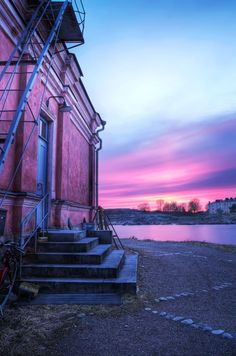 HDR photo of Purple Sunset in Suomenlinna in Helsinki, Finland. What A Wonderful World, Beautiful World, Beautiful Things, Helsinki, Shades Of Purple, Pink Purple, Aqua, 50 Shades, Lilac