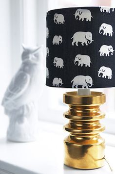 i love lamp, DIY? Gold black and white lamp nursery project