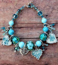 Broken China Bracelet, Aqua Floral China, Handmade Lampwork Beads, China Heart Charms, Sterling Silver