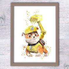 Rubble Paw Patrol watercolor poster Paw Patrol print, paw patrol wall art, paw patrol boys room decor, cute puppy watercolor dog art V271 by ColorfulPoster on Etsy