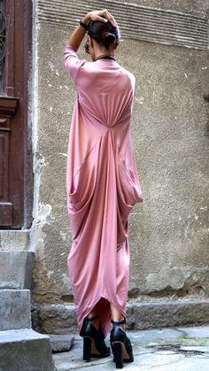Maxi Robe Kaftan asymétrique / frêne Long robe / délicat Rose / 3/4 manches Kaftan A03264 en vrac