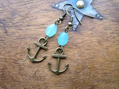 Anchor Earrings Nautical Gift Sailor Style Handmade Earrings Blue Jewelry Ship Ahoy Sailing Gift Vintage Inspired Maritime Earrings Boating by LovesVintage43 on Etsy