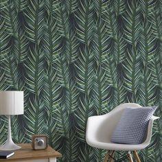 Palm Leaf Green Wallpaper, , large