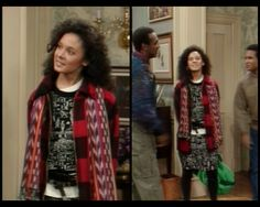 another cute outfit from The Cosby Show. The Cosby Show, Classic Tv, Kinky, Childhood Memories, Curly Hair Styles, Kimono Top, Cute Outfits, Halloween, Happy