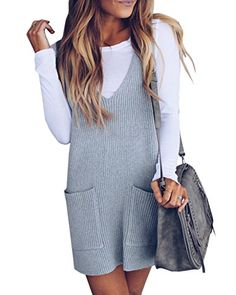 Imily Bela Womens Ribbed Deep V Neck Knitted Shift Dress Tank Vest Sweater >>> Find out more about the great product at the image link. (This is an affiliate link) Dresses With Boots Fall, Casual Dresses For Women, Dress Casual, Women's Casual, Casual Fall, Fall Dresses, Summer Dresses, Tops Online Shopping, Pullover