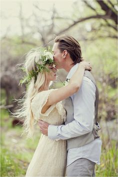 Love the bride's flowiong dress paired with the rustic hair wreath #wedding #woodland #forestwedding #bride #weddinghair