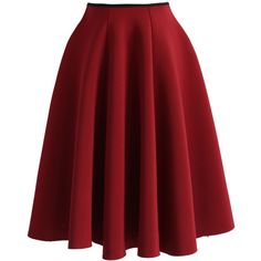 Chicwish Simple Chic Airy Full Skirt in Wine ($40) ❤ liked on Polyvore featuring skirts, red, bottoms, full skirt, elastic waist skirt, red skirt, red knee length skirt and red full skirt