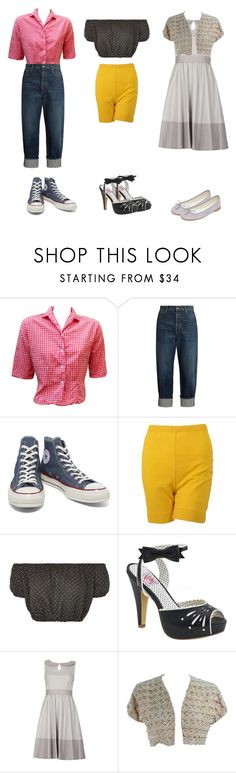 """An Unlikely Trio"" by attendthetale ❤ liked on Polyvore featuring Golden Goose, Converse, Oh My Love, Pinup Couture and Repetto"