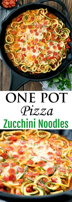 One Pot Pizza Zucchini Noodles. A lightened up version of pizza pasta, ready in less than 30 minutes. One Pot Pizza Zucchini Noodles. A lightened up version of pizza pasta, ready in less than 30 minutes. Zoodle Recipes, Spiralizer Recipes, Diet Recipes, Vegetarian Recipes, Cooking Recipes, Healthy Recipes, Vegetable Noodles, Zucchini Noodles, Sauce Pizza
