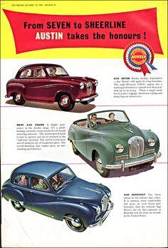 Austin Seven N Coupe Somerset 1953 - Mad Men Art: The Vintage Advertisement Art Collection Vintage Advertisements, Vintage Ads, Classic Cars British, British Car, Austin Cars, Car Brochure, Classic Chevy Trucks, Classic Motors, Car Advertising