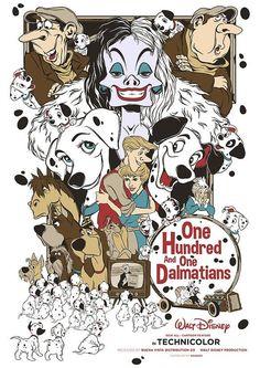 Image du film One Hundred and One Dalmatians (Clyde Geronimi, Hamilton Luske, Wolfgang Reitherman) de Mainger Deco Disney, Disney Fan Art, Disney Love, Walt Disney, Disney Films, Disney Villains, Disney Cartoons, Vintage Disney Posters, Vintage Cartoon