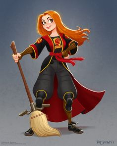 Another Harry Potter character: Ginny Weasley, in Quidditch gear. Harry Potter Illustrations, Harry Potter Artwork, Harry Potter Drawings, Harry Potter Tumblr, Harry Potter Anime, Harry Potter Pictures, Harry Potter Wallpaper, Harry Potter Fan Art, Harry Potter Universal