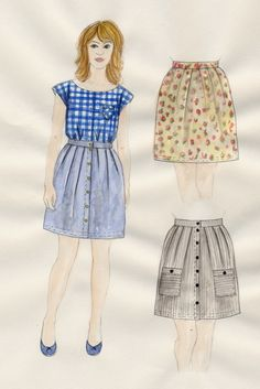 helena skirt pattern by sarah magill, via burdastyle. free. light chambray with buttons.