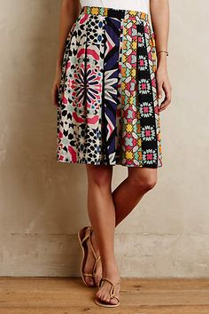 The colors and pattern are interesting! Good length. Fez Pleated Skirt - anthropologie.com