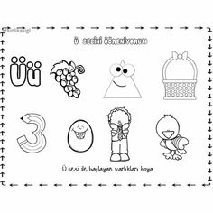 ü sesi Preschool Printables, Preschool Activities, Turkish Language, Mandala, Worksheets, Alphabet, Kids Crafts, Math, Children