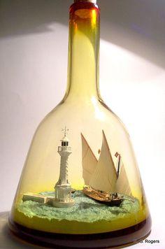 Ship in Bottle, Barque La. Boat In A Bottle, Ship In Bottle, Bottle Art, Bottle Crafts, Model Sailing Ships, Model Ships, The Bell Jar, Altered Bottles, Nautical Art