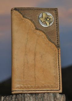 Roper Wallet, Long Wallet, Hand tooled leather, Personalized, Texas Gift Leather Art, Tooled Leather, Leather Tooling, Custom Wallets, Texas Gifts, Leather Wallets, Leather Projects, Long Wallet, Hand Tools
