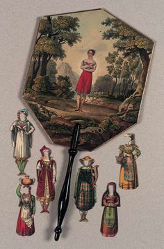 Circa 1810,Rare and Fine French Fireplace Fan with Paper Doll and Costumes