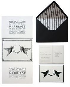 Black and white wedding invitations with tying the knot theme. Hand-printed by Liberty Wright