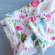 Baby Blanket // Baby Girl Blanket // Floral by JolieandJune
