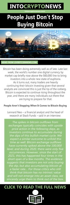 Bitcoin has been doing extremely well as of late. Late last week, the world's number one digital currency by market cap briefly rose above the $60,000 line to bring investors into a whole new state of euphoria. As it turns out, many traders are heavily continuing their bitcoin investing given that several analysts are convinced this is just the tip of the iceberg. Buy Bitcoin, Cryptocurrency News, Just Don, Number One, Investors, Bring It On, Wellness, Cap, Marketing