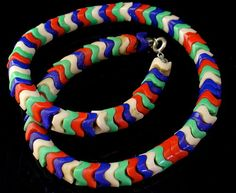 multi coloured glass czech snake big size bead necklace