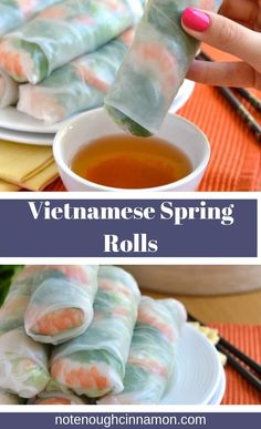 my step-by-step recipe to make the best Vietnamese Spring Rolls at home! Filled with shrimp, mint leaves, bean sprouts and vermicelli noodles, these summer rolls make for an Asian appetizer or healthy lunch. Asian Appetizers, Healthy Appetizers, Appetizer Recipes, Healthy Potluck, Potluck Recipes, Spring Recipes, Meal Recipes, Dip Recipes, Healthy Foods