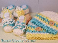 Crochet Twin Set Baby Hat and Shoes Booties  by NorasCrochetCorner, $45.00