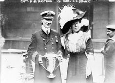Margaret Brown presented a silver loving cup to Captain Rostron on behalf of the Titanic Survivor's Committee on May 29, 1912