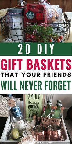 Homemade Gift Baskets, Diy Gift Baskets, Christmas Gift Baskets, Homemade Christmas Gifts, Homemade Gifts, Christmas Fun, Creative Gift Baskets, Diy Gifts For Friends Christmas, Coffee Gift Baskets