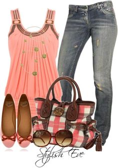 Pink tank top with flowing design, denim and cute shoes to match.