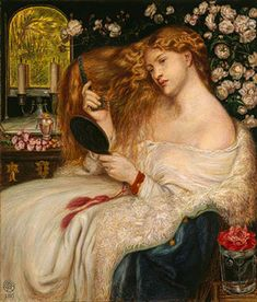 This is watercolor and gouache on paper titled Lady Lilith.  Painted by  Dante Gabriel Rossetti, who was one of the three founders of the Pre-Raphaelite Brotherhood, in 1867.   The painting is 20 3/16 X 17 5/16 in.   This painting, along with Rosetti's other paintings and drawings of Lady Lilith, Fanny Cornforth, his mistress, was the model.