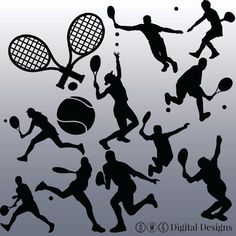 12 Tennis Silhouette Digital Clipart Images by OMGDIGITALDESIGNS