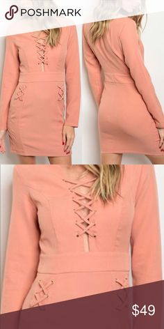 💕SALMON LACE UP DRESS💕 Long sleeve lace up front and side detail bodycon dress.                                                                                          It's pretty sexy dress.                                                          Makes you look more sexier and looking young😊.Can be wear for occasion too.                 You would love wearing this dress.                                TRUE TO SIZE. Fabric Content: 100% POLYESTER MUSTARD SEED Dresses Mini