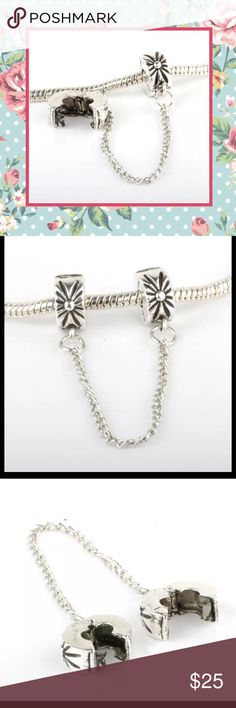 🌺 New Silver clasp safety lock stopper chain diy Unique Styles Silver Star flower blast style safety clip lock clasp stopper chain DIY for bracelet or European wide hole fits pandora. Murano lamp work copper silver plated. No name brand. NWOT double safety lock clasp Jewelry Bracelets