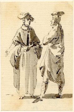 A Highlander talking with a girl, one of the sketches made in Edinburgh and the neighbourhood after the rebellion of 1745 Pen and grey ink and grey wash, by Paul Sandby