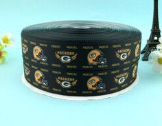 "1"" Packers Hel Grosgrain Printed Ribbon 10 yards Free Shipping for HairBow & DIY #AVA"